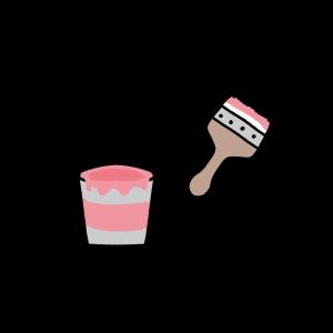 ピンクのペンキと刷毛のイラスト