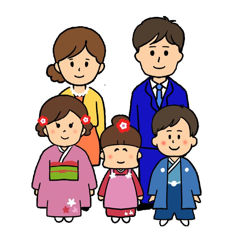 七五三の家族のイラスト
