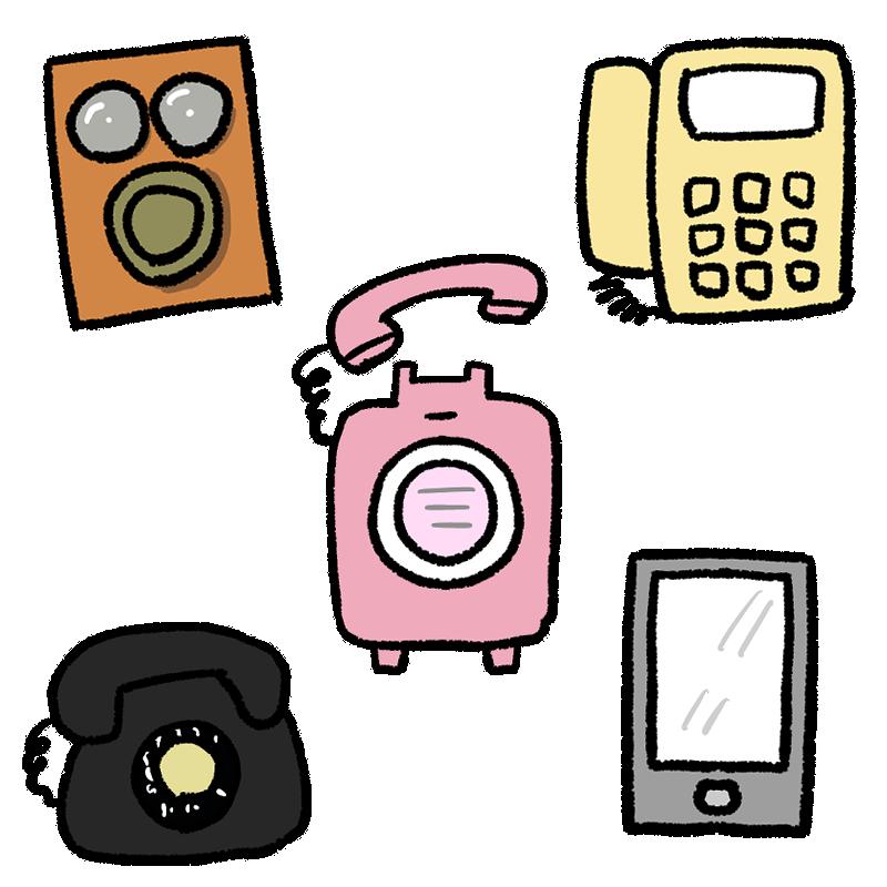 いろいろな電話器(磁石式電話器・固定電話・ピンク電話・公衆電話・黒電話・スマートフォン)のイラスト