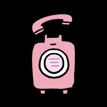 ピンクの公衆電話のイラスト