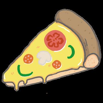 生地が厚めのピザのイラスト