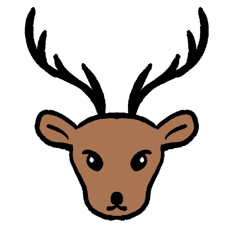 正面から見たトナカイの顔のイラスト