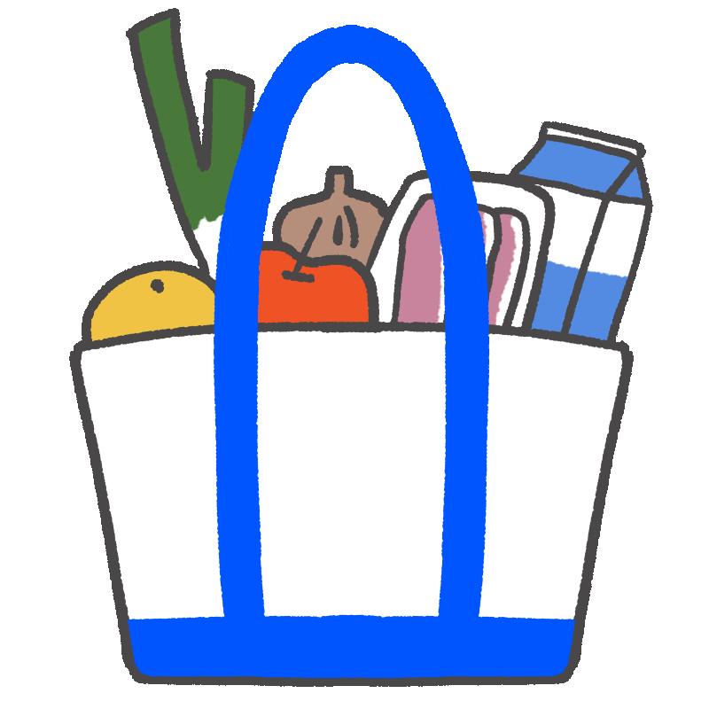 スーパーでの買い物のイラスト