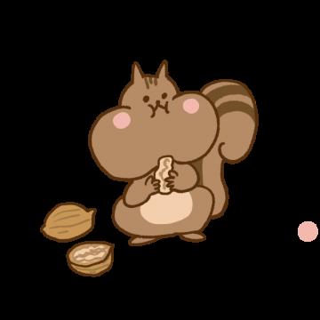クルミを食べているリスのイラスト
