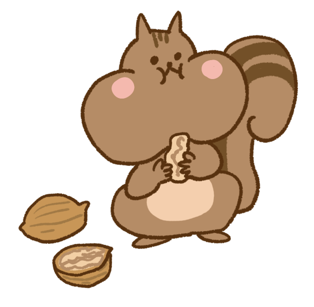 クルミを食べているかわいいリスのイラスト