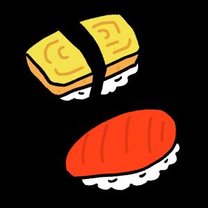 たまごとマグロの寿司のイラスト