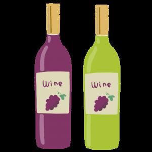 赤ワンと白ワインのイラスト