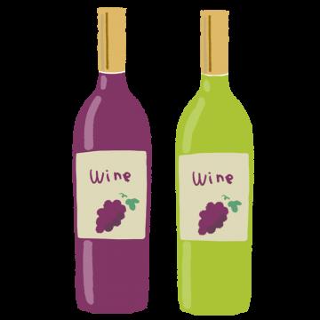 赤ワインと白ワインのイラスト