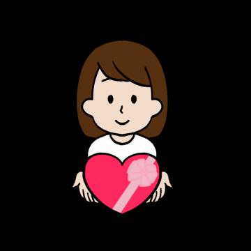 バレンタインデーにチョコレートを渡す女性のイラスト