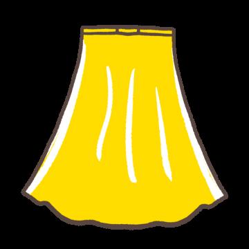 黄色いロングフレアスカートのイラスト