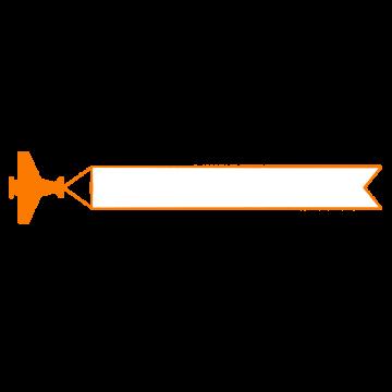 飛行機とリボンのテロップイラスト