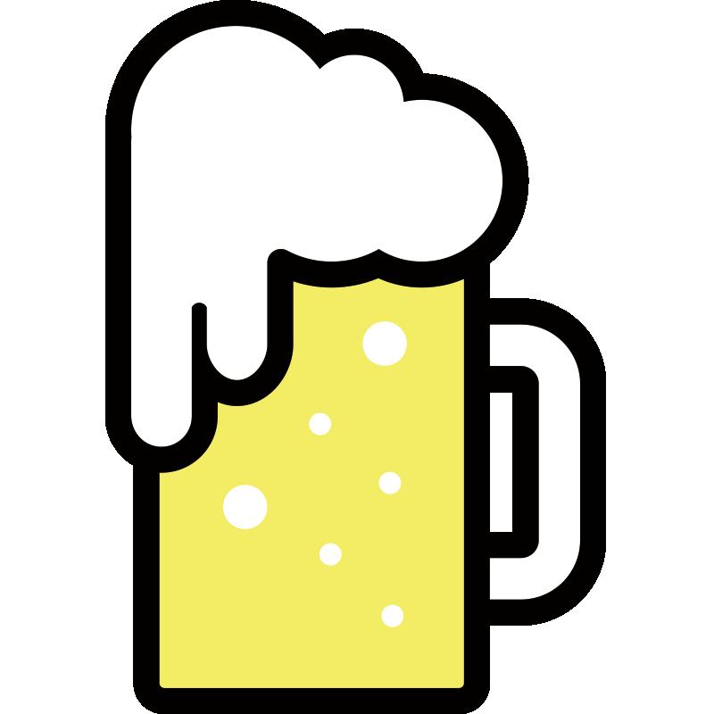 泡が溢れたビールのイラスト