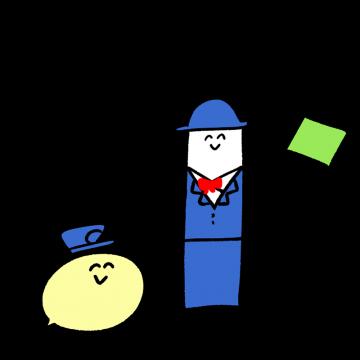 運転手とバスガイドのキャラクターイラスト