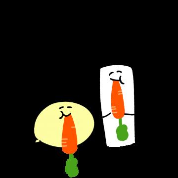 人参を食べているキャラクターのイラスト