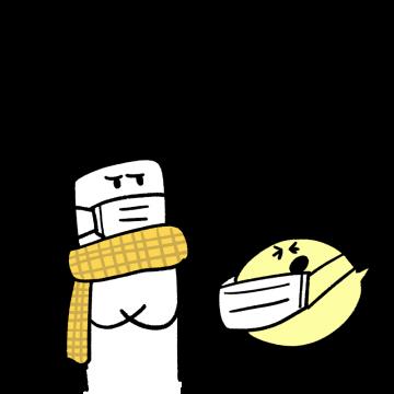 風邪気味のキャラクターのイラスト
