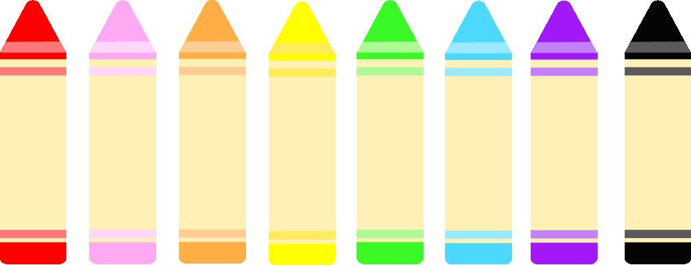 8色のクレヨンのイラスト