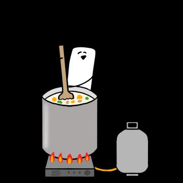 大鍋でシチューを作るイラスト