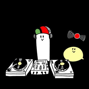 DJをするキャラクターのイラスト