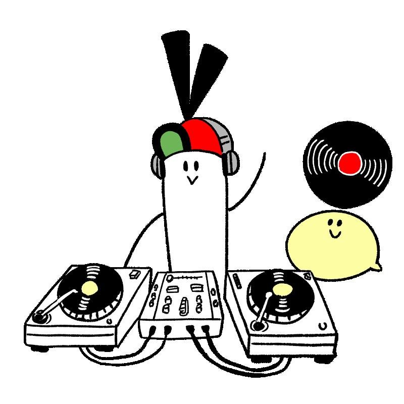 DJのキャラクターのイラスト
