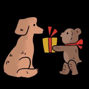 プレゼントを渡すテディベアのイラスト