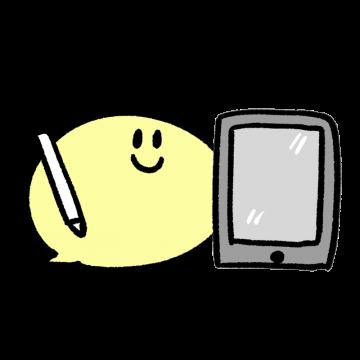 iPad風タブレットを持つキャラクターのイラスト