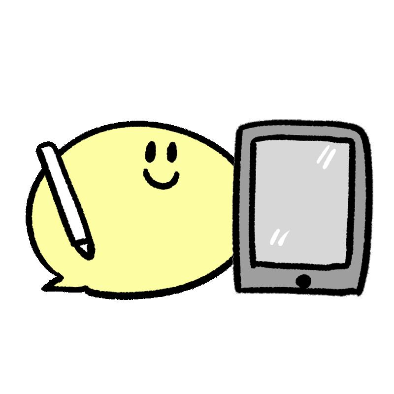 iPadを持つキャラクターのイラスト