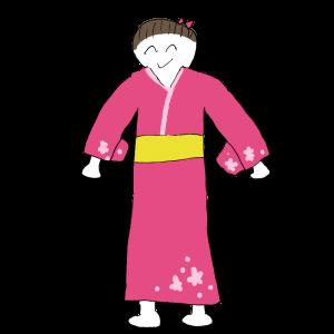 ヘタウマな着物女性のイラスト
