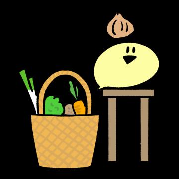 キッチンで玉ねぎを持つキャラクターのイラスト