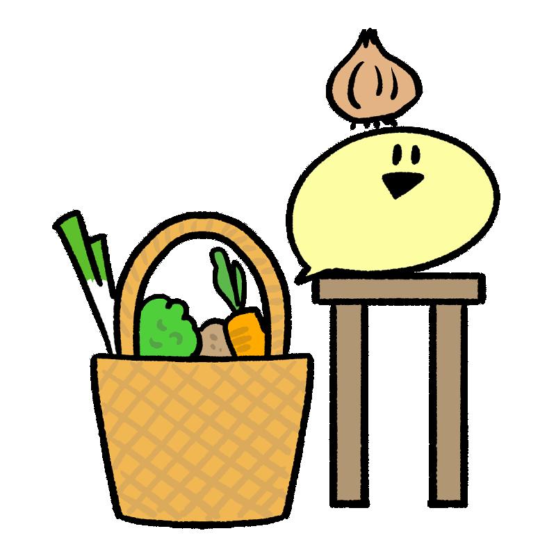 キッチンで玉ねぎを持つイラスト