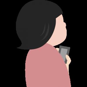 スマホを持って斜め上を見上げる後ろ姿の女性のイラスト