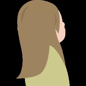 斜め上を見上げる後ろ姿の女性のイラスト