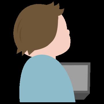 パソコンを触りながら斜め上を見上げる後ろ姿の男性のイラスト