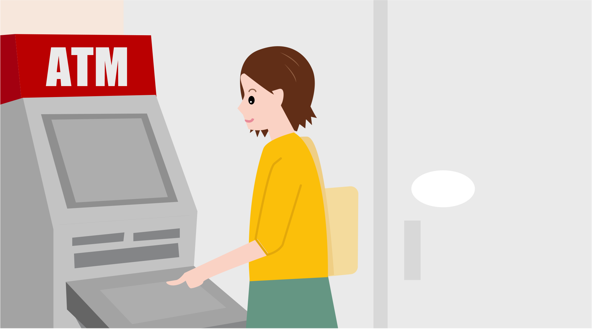 ATMを使う女性のイラスト