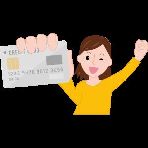 クレジットカードを持って喜んでいるまどかのイラスト