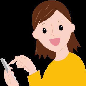 スマートフォンを操作しながら笑顔でこちらを見るまどかのイラスト