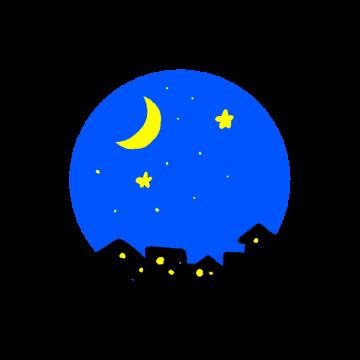 夜空のアイコン風のイラスト