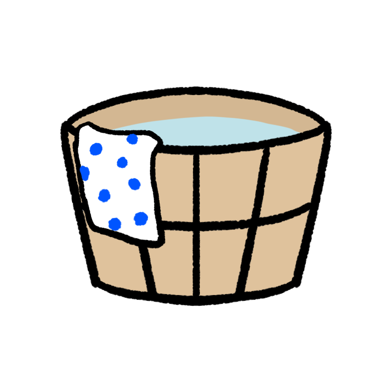 お湯の入った桶のイラスト