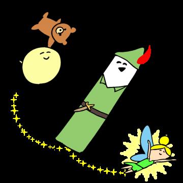 ピーターパンのコスプレをしているキャラクターのイラスト