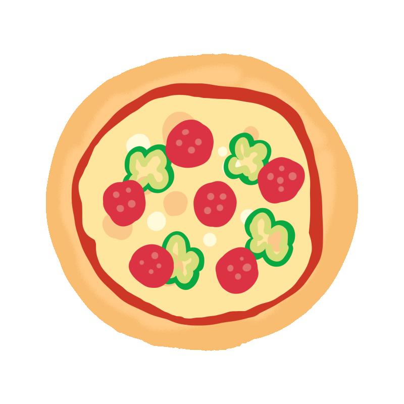 正面から見たピザのイラスト