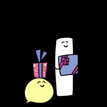 プレゼントを持っているキャラクターのイラスト