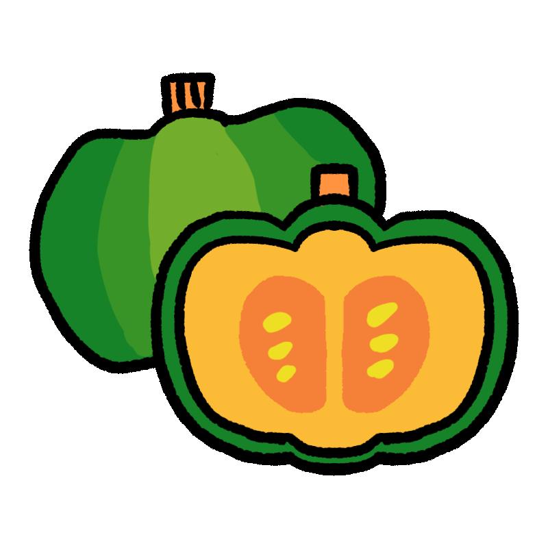 輪切りになったかぼちゃのイラスト