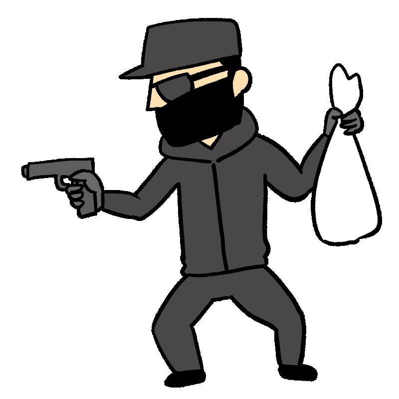 強盗する男性のイラスト