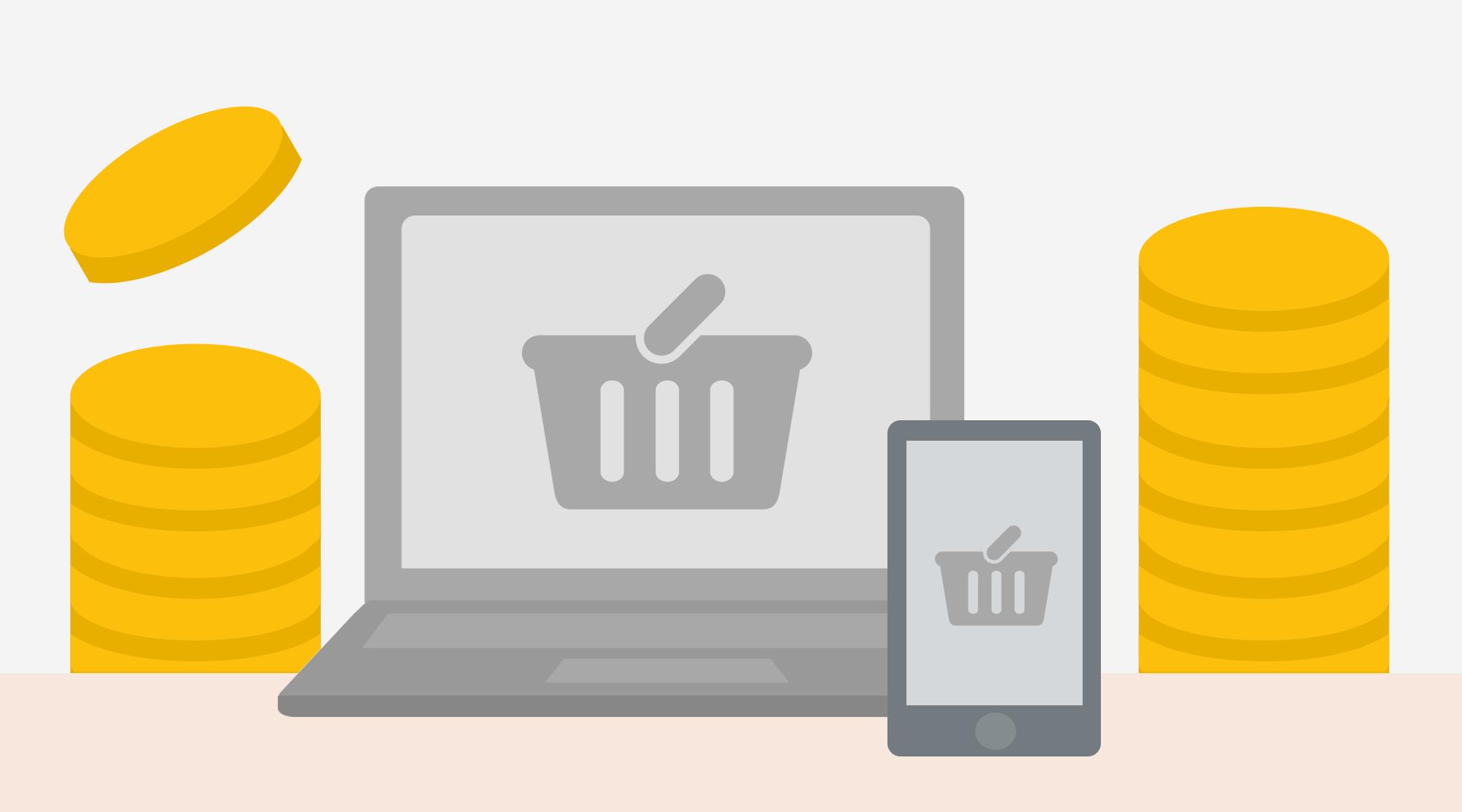 ネットショッピングでポイントが貯まるイメージのイラスト