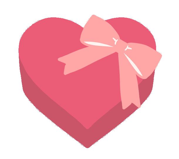 ハートの形のプレゼント箱のイラスト