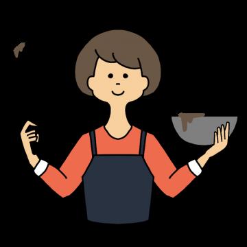 バレンタインデーのチョコレートを作る女性のイラスト