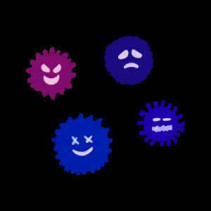 集まったウイルスのイラスト