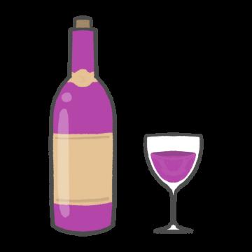 ワインとワイングラスのイラスト