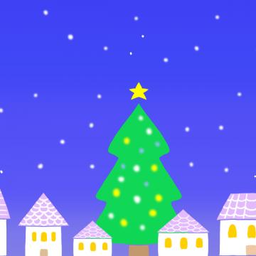 12月の夜景のイラスト