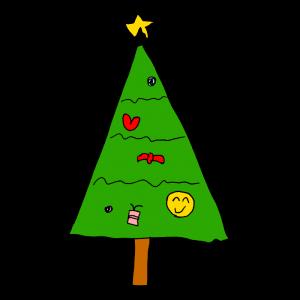 ヘタウマなクリスマスツリーのイラスト