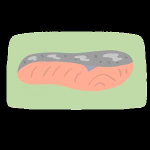 皿にのった焼き鮭のイラスト